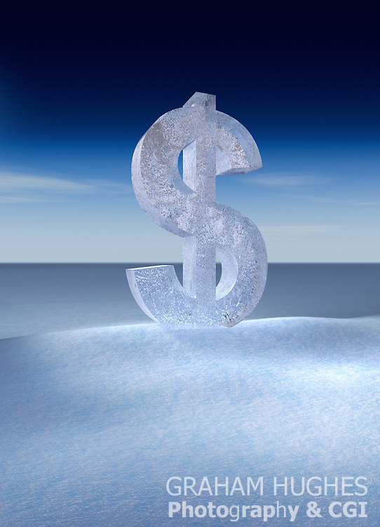 Frozen USA Dollar symbol in snowy landscape.