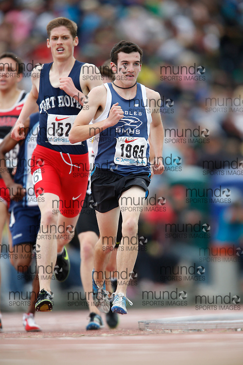 Ben Flanagan of St Mary's HS - Kitchener competes in the senior boys 3000m at the 2013 OFSAA Track and Field Championship in Oshawa Ontario, Saturday,  June 8, 2013.<br /> Mundo Sport Images/ Geoff Robins