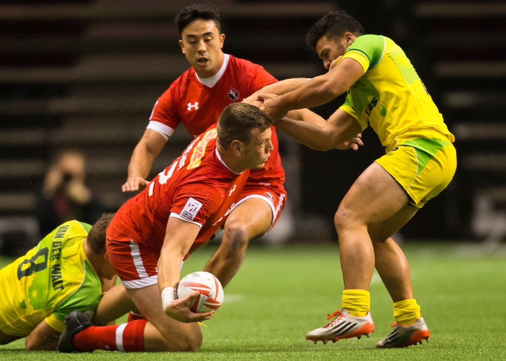 Canada plays Australia at the HSBC Sevens World Series XVII Round 6 at B.C. Place Stadium in Vancouver British Columbia on March 12, 2016. Canada beat Australia 14-12.