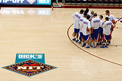 Nov 14, 2011; Stanford CA, USA;  The Southern Methodist Mustangs huddle on the court before the first round of the preseason NIT against the Colorado State Rams at Maples Pavilion.  Mandatory Credit: Jason O. Watson-US PRESSWIRE