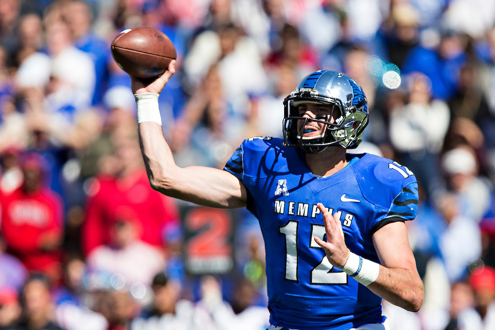 MEMPHIS, TN - OCTOBER 17:  Paxton Lynch #12 of the Memphis Tigers throws a pass during a game against the Ole Miss Rebels at Liberty Bowl Memorial Stadium on October 17, 2015 in Memphis, Tennessee.  The Tigers defeated the Rebels 37-24.  (Photo by Wesley Hitt/Getty Images) *** Local Caption ***  Paxton Lynch