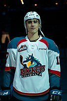 KELOWNA, CANADA - JANUARY 30: Alex Swetlikoff #17 of the Kelowna Rockets stands on the blue line at the start of the game against the Seattle Thunderbirds on January 30, 2019 at Prospera Place in Kelowna, British Columbia, Canada.  (Photo by Marissa Baecker/Shoot the Breeze)