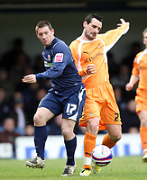 Coca cola League One. Southend Utd v Luton. 08.03.08<br />Pic by Karl Winter Fotosports International<br />Southend's Tommy Black battles with Luton's Matthew Spring