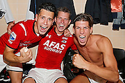 ALKMAAR - 27-08-15, Europa League,  2e voorronde,  AZ  - Astra GiurGiu, AFAS Stadion, 2-0, AZ speler Thom Haye (l), AZ speler Robert Muhren (m), AZ speler Stijn Spierings (r).