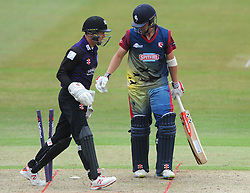 Fabian Cowdrey of Kent is bowled out by Benny Howell of Gloucestershire - Photo mandatory by-line: Dougie Allward/JMP - Mobile: 07966 386802 - 12/07/2015 - SPORT - Cricket - Cheltenham - Cheltenham College - Natwest Blast T20
