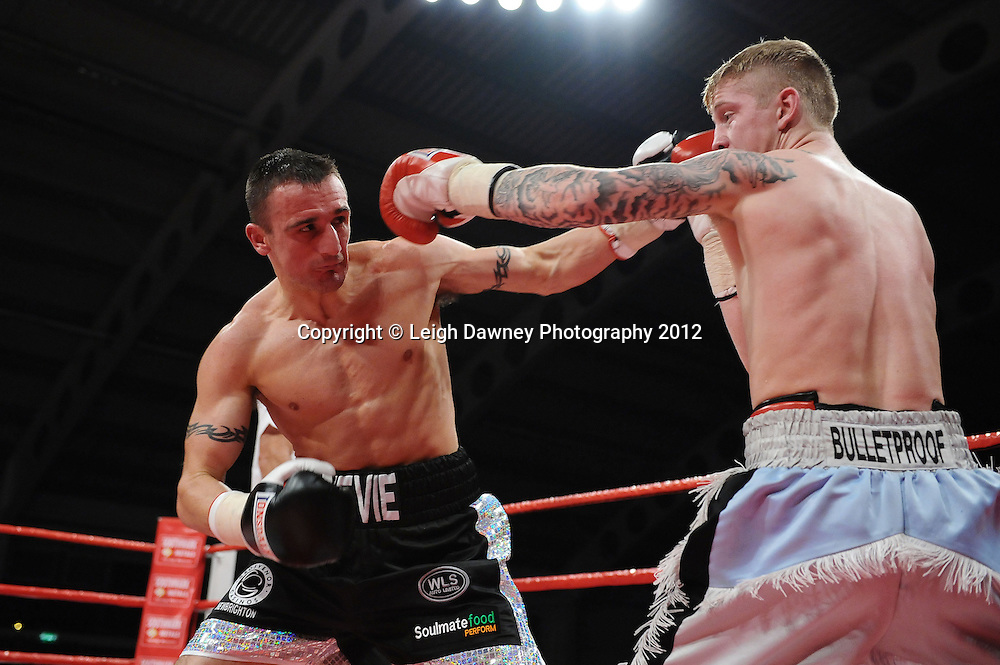 Steve Williams defeats Kirk Goodings in a 12x3 bout for the Vacant British Masters Light Welterweight Title on the 30th November 2012 at Aintree Equestrian Centre, Aintree, Liverpool. Frank Maloney Promotions. Pictures by Leigh Dawney. ©leighdawneyphotography 2012.