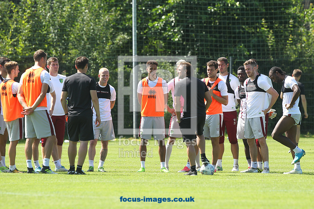 Norwich Head Coach Daniel Farke addresses the players during the Norwich City Pre-Season Training session at Hotel Klosterpforte, Harsewinkel, Germany<br /> Picture by Paul Chesterton/Focus Images Ltd +44 7904 640267<br /> 18/07/2017