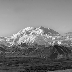 Black and white panorama of Denali and surrounding peaks.