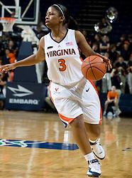 Virginia guard Paulisha Kellum (3) in action against Rhode Island.  The Virginia Cavaliers women's basketball team defeated the Rhode Island Rams 89-53 at the John Paul Jones Arena in Charlottesville, VA on January 9, 2008.
