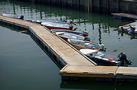 Small boats at dock, Stonington, Maine, USA.