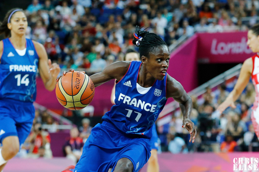 09 August 2012: France Emilie Gomis attacks the basket during 81-64 Team France victory over Team Russia, during the women's basketball semi-finals, at the 02 Arena, in London, Great Britain.