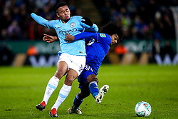 Gabriel Jesus of Manchester City takes on Hamza Choudhury of Leicester City - Mandatory by-line: Robbie Stephenson/JMP - 18/12/2018 - FOOTBALL - King Power Stadium - Leicester, England - Leicester City v Manchester City - Carabao Cup Quarter Finals