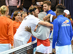 July 17, 2017 - Philadelphia, Pennsylvania, U.S - MARDY FISH of the New York Empire, hugs TAYLOR TOWNSEND after the Empire beat the Freedoms in a match held at Saint Joseph's University's Hagan Area in Philadelphia PA (Credit Image: © Ricky Fitchett via ZUMA Wire)