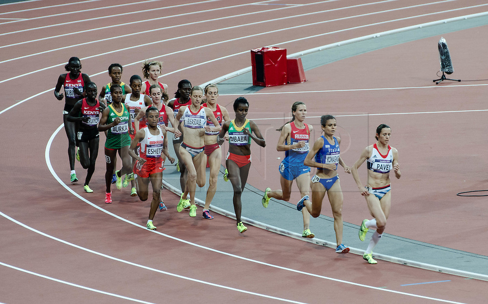 © Licensed to London News Pictures. 10/08/2012. London, UK.  The Women's 5000m final at the Olympics London 2012. Team GB athlete Jo Pavey sets the pace and leads early in the race, with fellow British athlete Julia Bleasedale in the middle of the field.  Photo credit : Richard Isaac/LNP