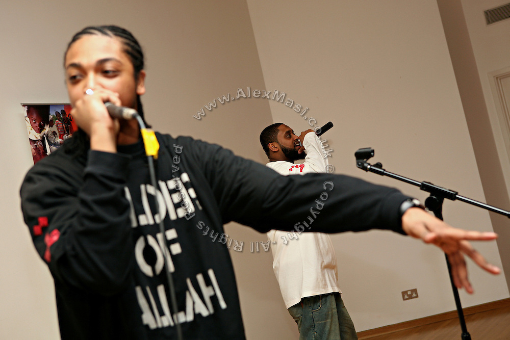Iron Braydz, 26, (left) and his partner, Cataclysm, 27, (right) are performing on Wednesday, Jan. 31, 2007, at SOAS University, in London, England. Islamic Hip Hop artists like the duo 'Blind Alphabetz', from London, feel more than ever the need to say what they think aloud. In the music industry the backlash of a disputable Western foreign policy towards Islamic countries and its people is strong. The number of artists in the European Union and the US taking this into consideration and addressing the current social and political problems within their lyrics is growing rapidly and fostering awareness for Muslim and others alike.