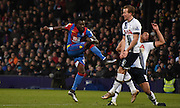 Pape Souare tries his luck from distance during the Barclays Premier League match between Crystal Palace and Tottenham Hotspur at Selhurst Park, London, England on 23 January 2016. Photo by Michael Hulf.