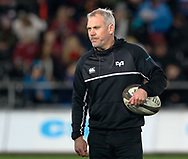 Ospreys' Defence Coach Brad Davis during the pre match warm up<br /> <br /> Photographer Simon King/Replay Images<br /> <br /> Guinness PRO14 Round 19 - Ospreys v Leinster - Saturday 24th March 2018 - Liberty Stadium - Swansea<br /> <br /> World Copyright © Replay Images . All rights reserved. info@replayimages.co.uk - http://replayimages.co.uk