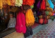 Kashmiri sheeps wool dyed and on sale at the main bazar in Srinagar