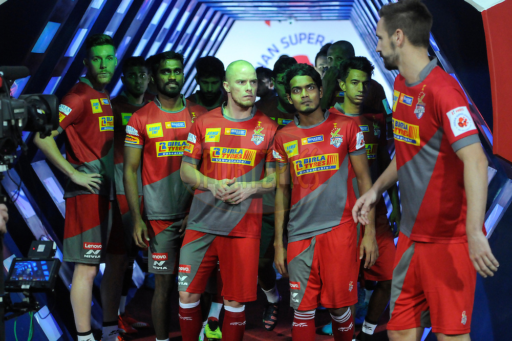 Players inside the tunnel during match 27 of the Indian Super League (ISL) season 2  between Mumbai City FC and Atl&eacute;tico de Kolkata held at the D.Y. Patil Stadium, Navi Mumbai, India on the 1st November 2015.<br /> <br /> Photo by Pal Pillai / ISL/ SPORTZPICS