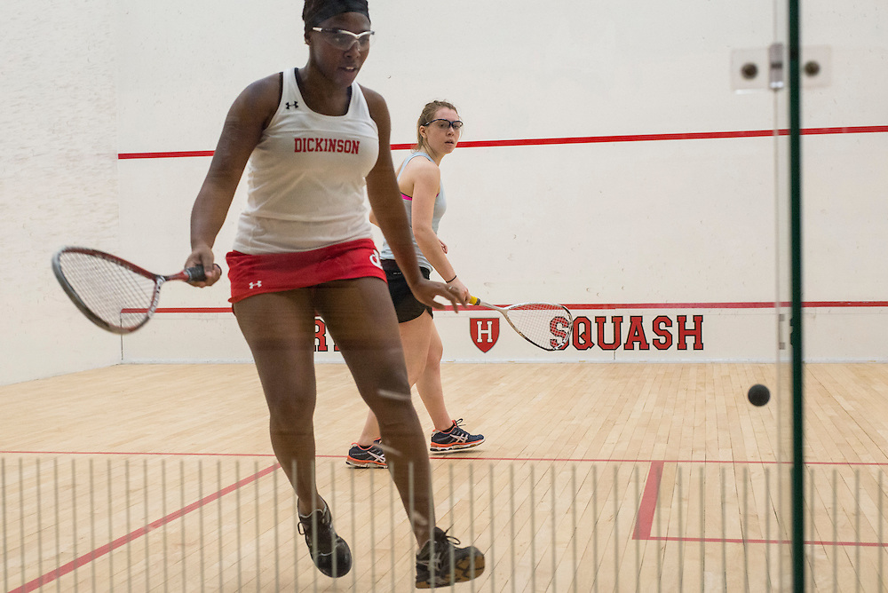 2017/01/20 - Cambridge, MA -Sophomore Sinclair Meggitt watches her opponent hit the ball in a match against Dickonson at Harvard's Murr Center on Friday, Jan 20, 2016. (Ray Bernoff / The Tufts Daily)