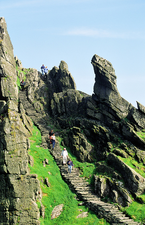 Skellig Michael. Ancient stone stairway leads to Celtic Christian monastery at top of island of Skellig Michael, Kerry, Ireland.