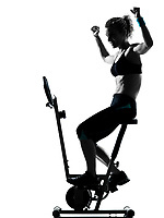 one woman biking exercising workout fitness aerobic exercise posture on studio isolated white background