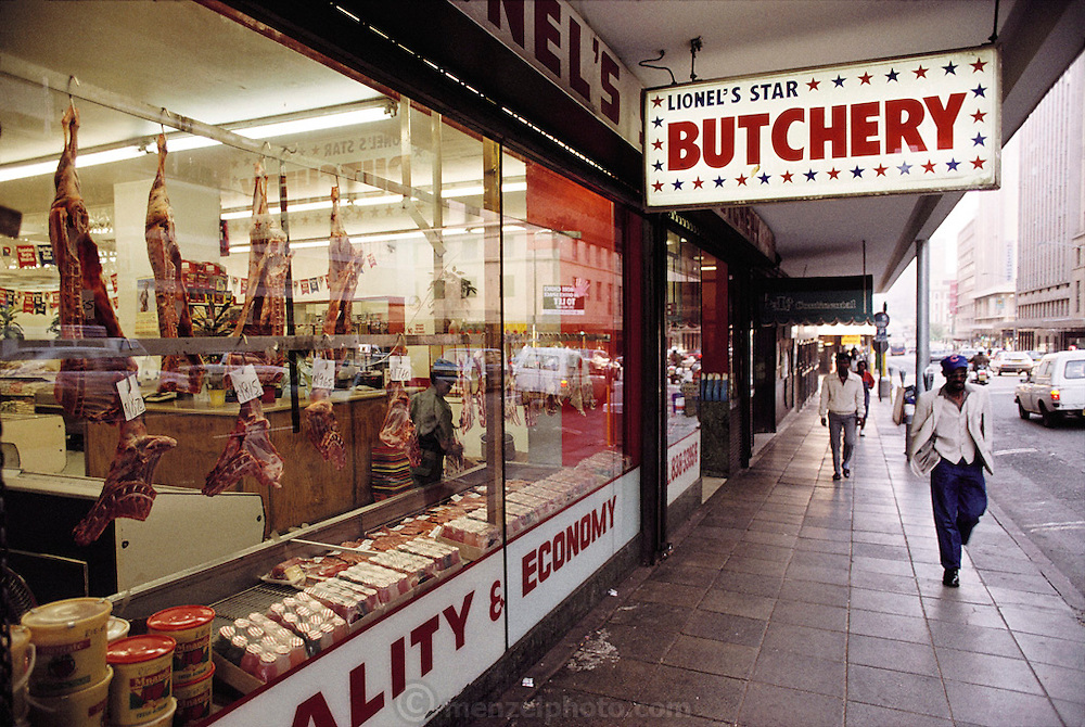 Butcher shop in downtown Johannesburg (Joberg), South Africa. Material World Project.
