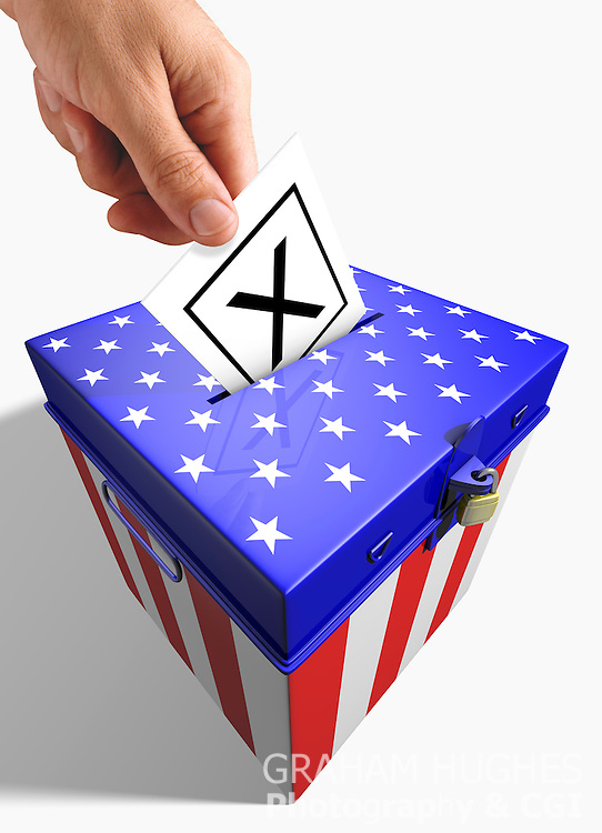 USA Ballot Box with male hand holding slip.