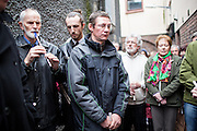 09/05/2013 Piotr Baram with local people attending the Vigil for his friend Josef Pavelka in Thompsons lane,Ennis on Thursday night. Photograph by Eamon Ward