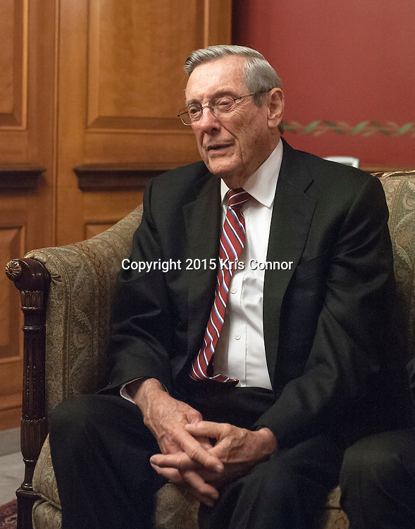 Former senator Bill Brock(R-TN) speaks with a reporter before having lunch with former senator Bill Frist(R-TN), Senators Alexander Lamar(R-TN) and Bob Corker(R-TN) outside of the Senate Dining Room in the U.S. Capitol on January 6, 2015 in Washington DC. Photo by Kris Connor.