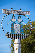 Village sign at Biddenden in Kent, England, UK