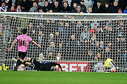 Northampton Town GoalKeeper Adam Smith is beaten by Simon Church's penalty during the The FA Cup Third Round Replay match between Milton Keynes Dons and Northampton Town at stadium:mk, Milton Keynes, England on 19 January 2016. Photo by Dennis Goodwin.