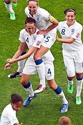 09.07.2011, FIFA Frauen-WM-Stadion Leverkusen, Leverkusen, GER, FIFA Women Worldcup 2011, Viertelfinale, England (ENG) vs. Frankreicht (FRA), im Bild:  Torjubel / Jubel  Jill Scott (England) mit Faye White (England) .. // during the FIFA Women´s Worldcup 2011, Quaterfinal, England vs France on 2011/07/09, FIFA Frauen-WM-Stadion Leverkusen, Leverkusen, Germany.   EXPA Pictures © 2011, PhotoCredit: EXPA/ nph/  Mueller *** Local Caption ***       ****** out of GER / CRO  / BEL ******