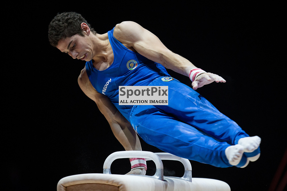 Ludovico Edalli of Italy competes in the Gymnastics Team Men Qualification - 2018 European Championships Glasgow, 9 August 2018. (c) Adam Oliver | sportPix.org.uk