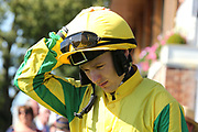 Jockey COLIN KEANE enters the Parde Ring prior to winning The Sky Bet Ebor Handicap over 1m 6f (£1,000,000) on MUSTAJEER   during the Ebor Festival at York Racecourse, York, United Kingdom on 24 August 2019.