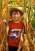 Image of a young boy standing in a corn field in Waitsburg, Washington, Pacific Northwest, Palouse, model released