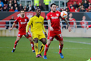 Bristol City striker Lee Tomlin (10) and Burton Albion striker Marvin Sordell (9) during the EFL Sky Bet Championship match between Bristol City and Burton Albion at Ashton Gate, Bristol, England on 4 March 2017. Photo by Richard Holmes.