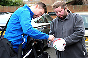 Grimsby Town Manager Michael Jolley signing for a fan prior to the EFL Sky Bet League 2 match between Grimsby Town FC and Port Vale at Blundell Park, Grimsby, United Kingdom on 10 March 2018. Picture by Mick Atkins.