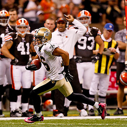 Oct 24, 2010; New Orleans, LA, USA; New Orleans Saints wide receiver Lance Moore (16) runs after a catch during the first half against the Cleveland Browns at the Louisiana Superdome. Mandatory Credit: Derick E. Hingle
