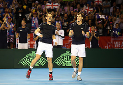 Great Britain's Andy Murray and Jamie Murray celebrate victory over Argentina's Juan Martin Del Potro and Leonardo Mayer during day two of the Davis Cup at the Emirates Arena, Glasgow.