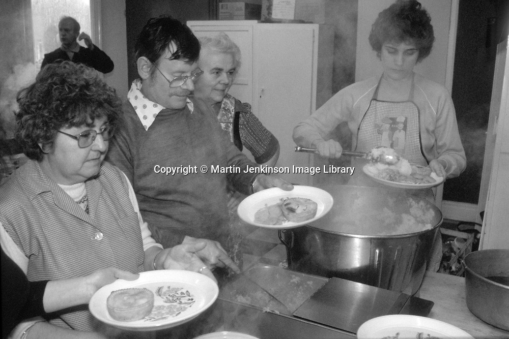 Miners wives and members of womens support groups serving food to striking miners families during the 1984-85 strike, Barnsley.