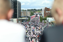 May 27, 2019 - London, England, United Kingdom - Aston Villa and Derby fans walk up to Wembley during the Sky Bet Championship Play Off Final between Aston Villa and Derby County at Wembley Stadium, London on Monday 27th May 2019. (Credit Image: © Mi News/NurPhoto via ZUMA Press)