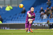 Jason Steele throws the ball out during the Sky Bet Championship match between Brighton and Hove Albion and Blackburn Rovers at the American Express Community Stadium, Brighton and Hove, England on 8 November 2014.