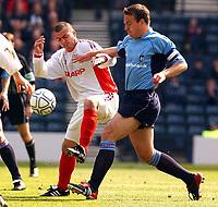 Fotball<br /> Skottland 2003<br /> <br /> Dundee 1 v Inverness Caley Thistle 0<br /> Scottish Cup semi final<br /> Hampden Park, Glasgow.<br /> Foto: Ian  Stewart, Digitalsport<br /> Sunday April 20th 2003<br /> Russell Duncan and Gavin Rae