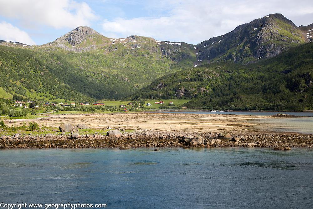 Scenery and mountains from Raftsundet strait of Hinnoya Island, Nordland, northern Norwaya