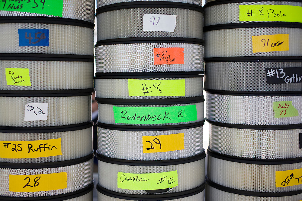 Air filters awaiting approval by race officials at Rockingham Speedway, Friday, April 17, 2009.