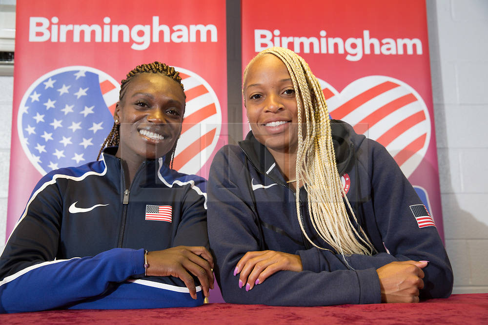 © Licensed to London News Pictures. 28/7/2016. Birmingham, UK.  More than 150 athletes, officials and staff representing USA Track & Field (USATF) are staying in Birmingham at the end of July, ahead of the IAAF World Championships in London. Pictured, Dawn Harper-Nelson, left and Natasha Hastings pictured in Birmingham. Photo credit: Dave Warren/LNP