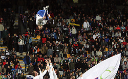 Acrobatic team Borci at the 8th day qualification game of 2010 FIFA WORLD CUP SOUTH AFRICA in Group 3 between Slovenia and Czech Republic at Stadion Ljudski vrt, on March 28, 2008, in Maribor, Slovenia. Slovenia vs Czech Republic 0 : 0. (Photo by Vid Ponikvar / Sportida)