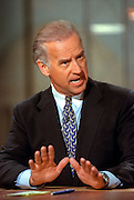 Senator Joe Biden discusses the situation in Kosovo during NBC's Meet the Press April 11, 1999 in Washington, DC.