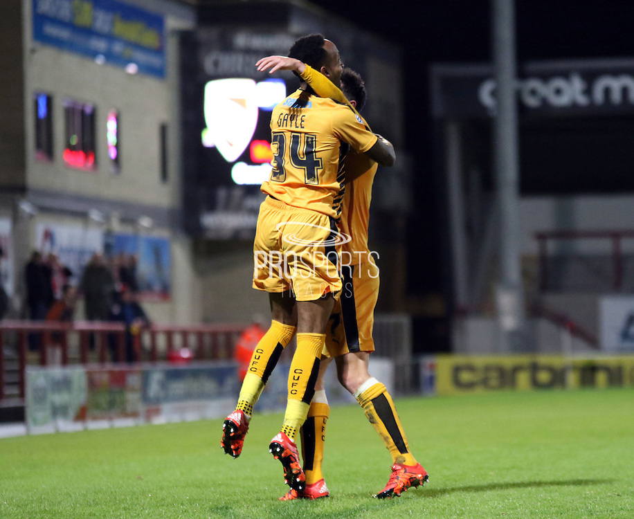 Cameron Gayle celebrates during the Sky Bet League 2 match between Morecambe and Cambridge United at the Globe Arena, Morecambe, England on 24 November 2015. Photo by Pete Burns.